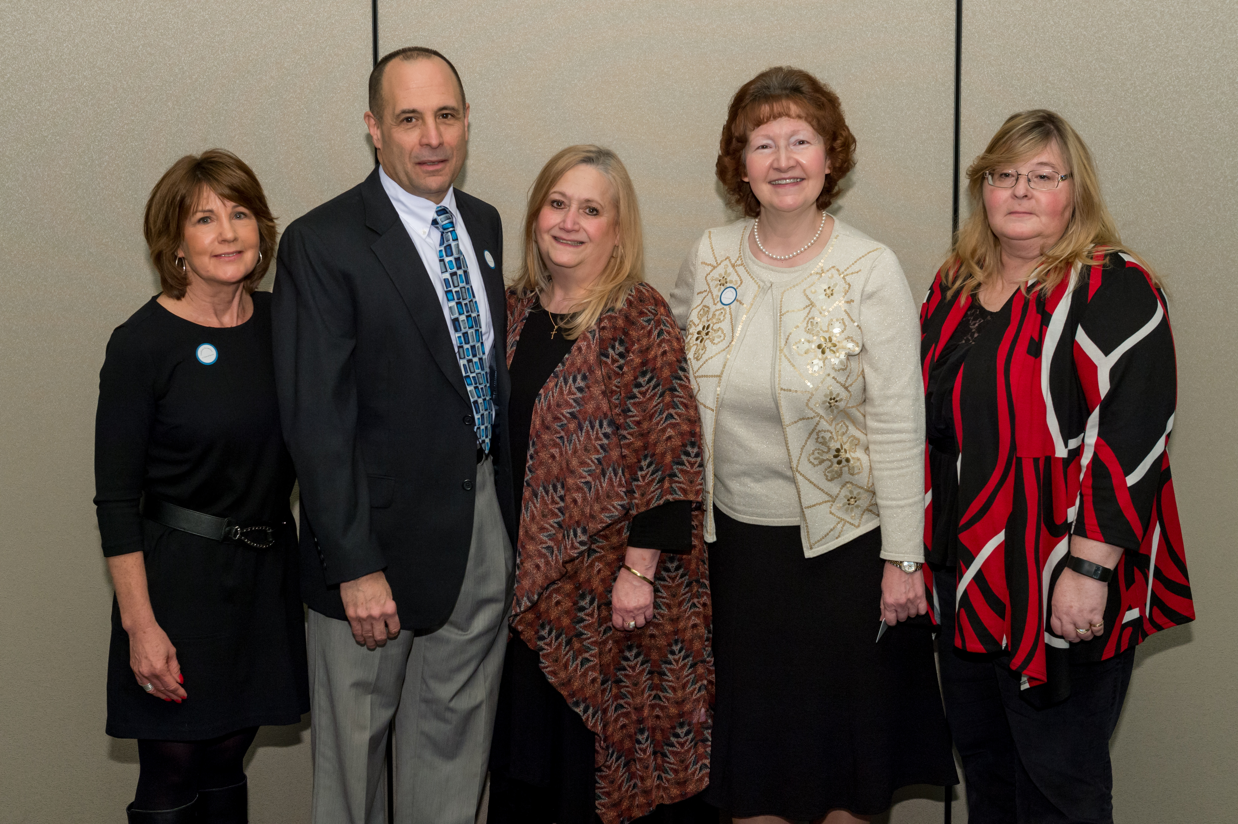 Employees with 20 years of service (left to right) Mary Shick, Rey Notareschi, Margaret Sanders, Deborah Myers and Deborah Tummel